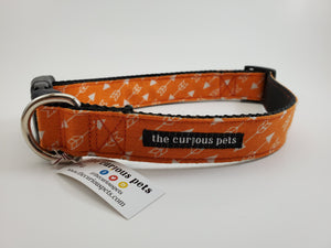 The Curious Pets Orange Arrows Dog Collar