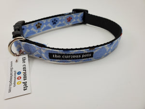 The Curious Pets Blue Paw Bones Dog Collar