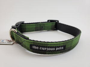 The Curious Pets Green Buffalo Dog Collar