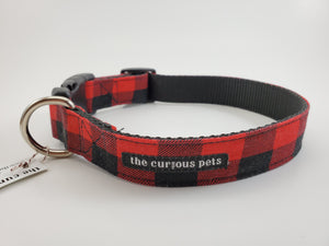 The Curious Pets Red Buffalo Dog Collar