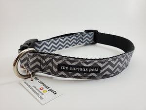 The Curious Pets Gray Chevron Dog Collar