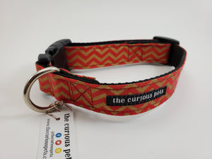 The Curious Pets Red Chevron Dog Collar