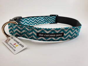 The Curious Pets Teal Metallic Chevron Dog Collar