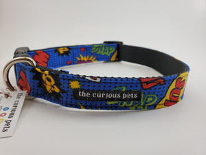 Blue comic book dog collar