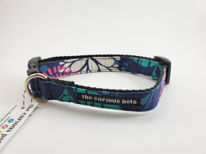 The Curious Pets Navy Floral Dog Collar
