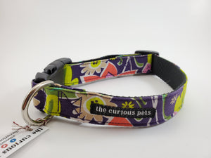The Curious Pets Purple Floral Dog Collar
