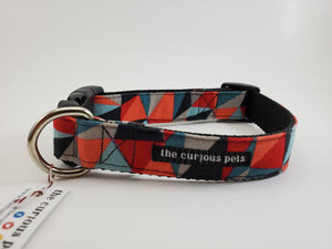 The Curious Pets Red Geometric Dog Collar