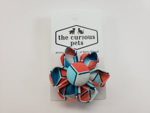The Curious Pets Geometric Lines Teal Flower Bow