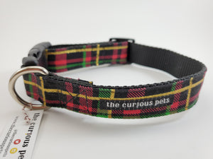 The Curious Pets Black Plaid Dog Collar