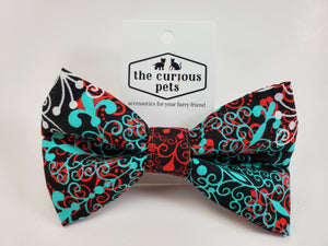 The Curious Pets Black Plaid Bow Tie