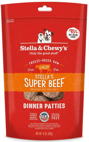 Stella & Chewy's Raw Frozen Super Beef Dinner Patties Dog Food, 14oz