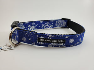 The Curious Pets Blue Snowflakes Dog Collar