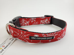 The Curious Pets Red Metallic Snowflakes Dog Collar