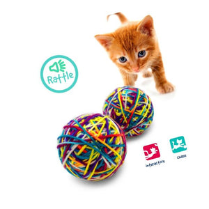Pet Craft Knitty Kitty Multi Color Yard Balls with Rattle