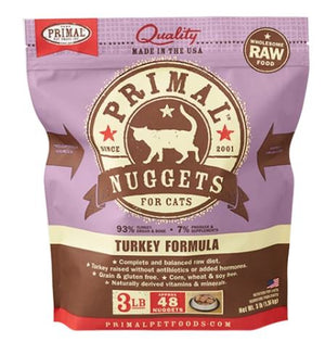 Primal Raw Frozen Feline Turkey Formula Nuggets Food, 3-lb bag