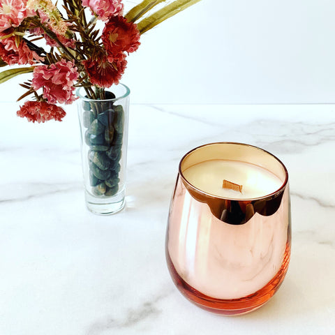 Beautiful mirrored votive soy candle with a fall scent / wooden wick