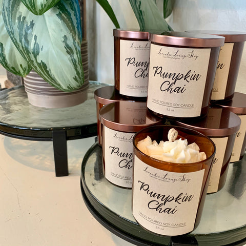 Pumpkin Chai Soy Candle with whipped topping and cinnamon stick