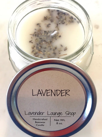 Lavender scented candle containing real lavender pieces (beeswax)