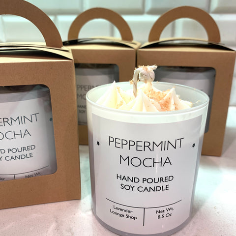 Peppermint Mocha Soy Candle with whipped topping