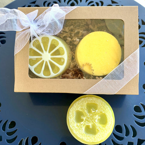 Lemon Luffa Soap and Lemon Drop Bath Truffle gift set