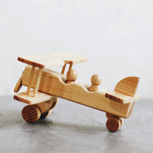 Load image into Gallery viewer, CLASSIC WOODEN PLANE WITH TWO PEG DOLLS