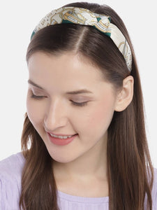 Blueberry green print satin knot hairband