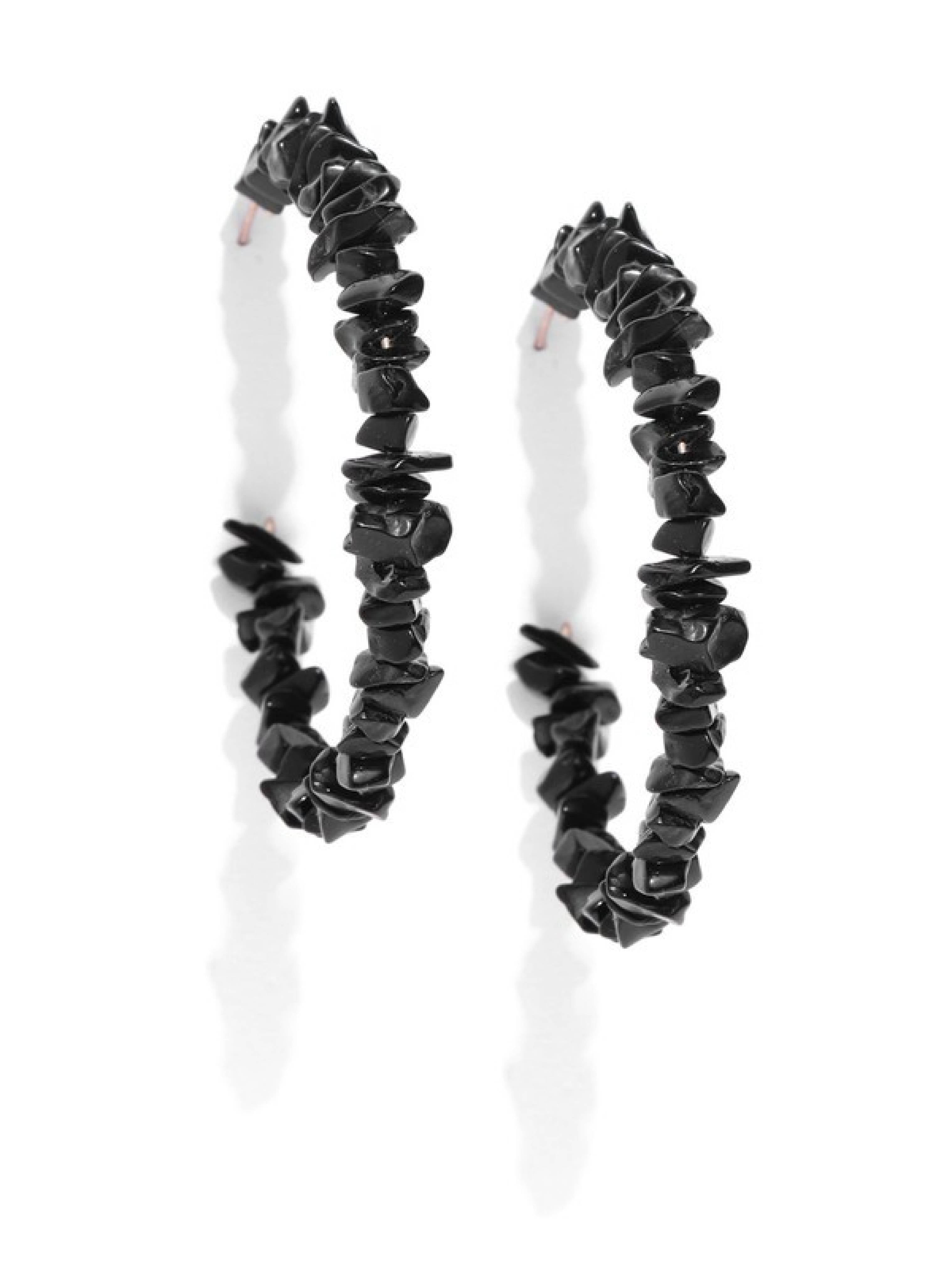 Blueberry black color beads hoop earring