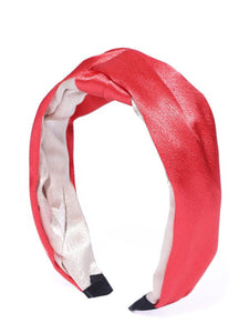 Blueberry red and beige double tone knot hairband