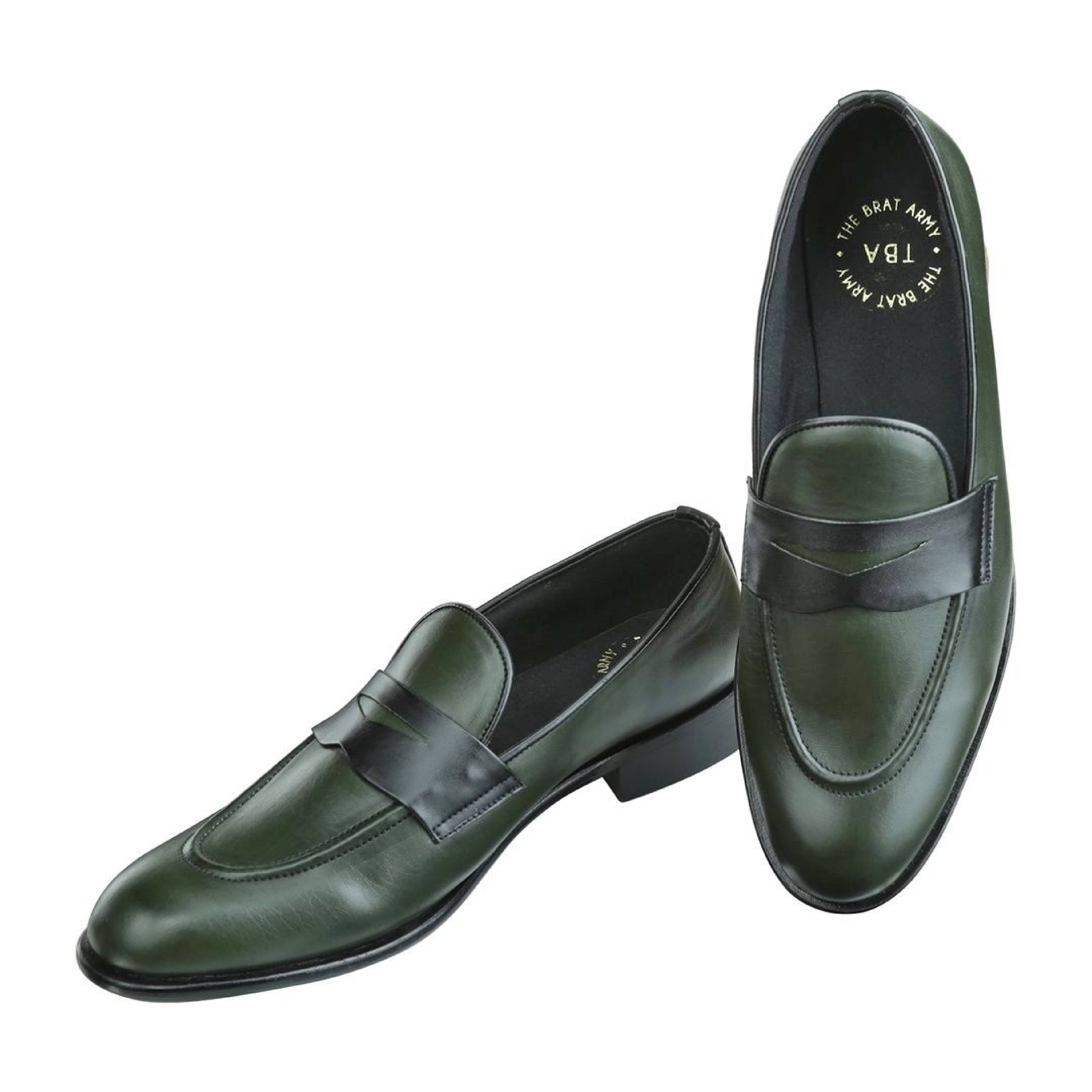 PICTON OLIVE GREEN AND BLACK PENNY LOAFERS