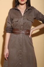 Load image into Gallery viewer, Military Green Midi Dress