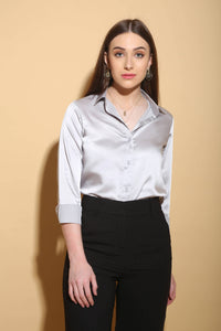 Silver Blue Formal Shirt