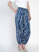 Load image into Gallery viewer, Indigo chevron 100% cotton harem pants