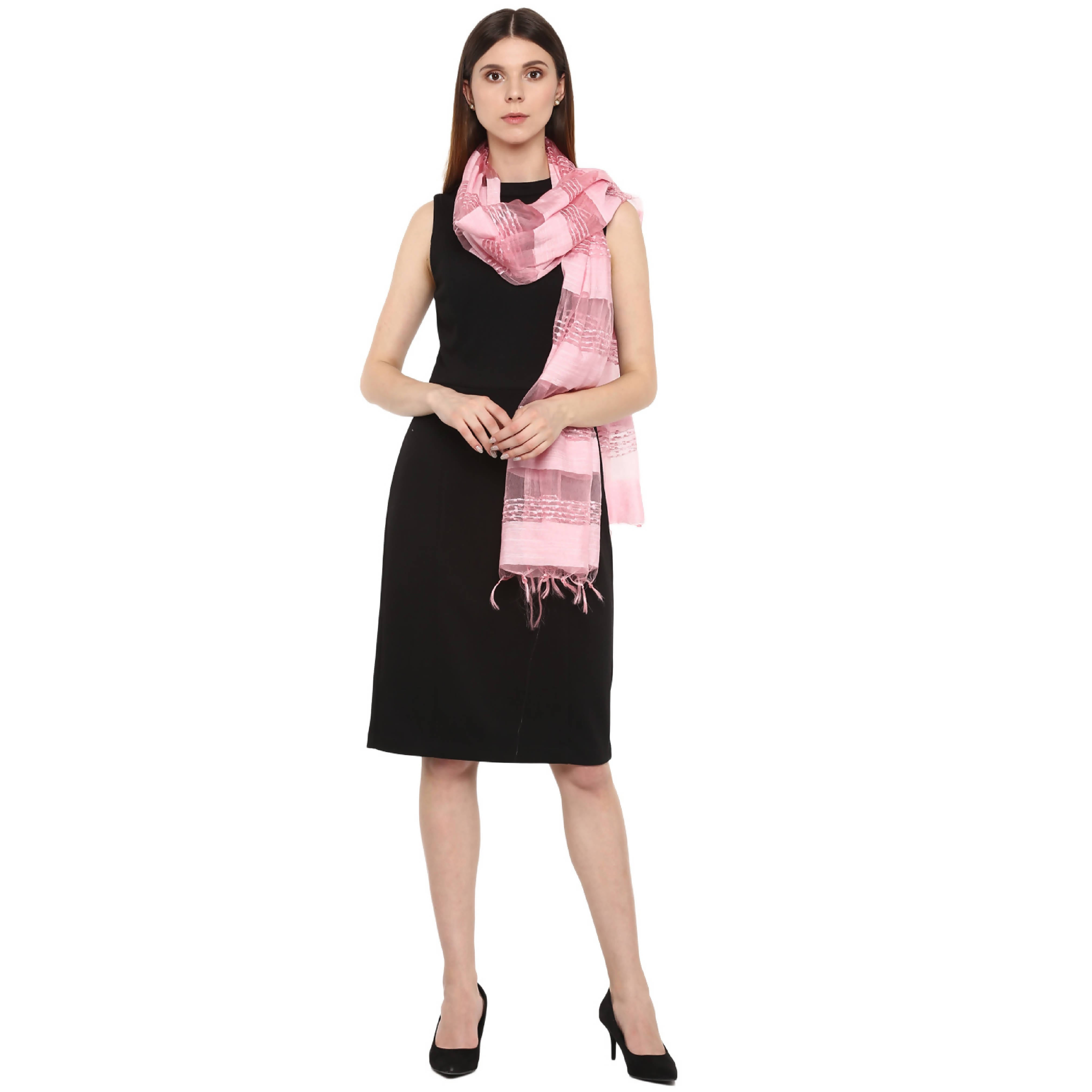 Rhe-Ana Silvia Dupatta Art Silk/Viscose Light Pink Colour