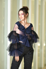 Load image into Gallery viewer, BLUE BLACK FRILLY SLEEVE TOP