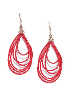Blueberry red beads chain layer drop earring
