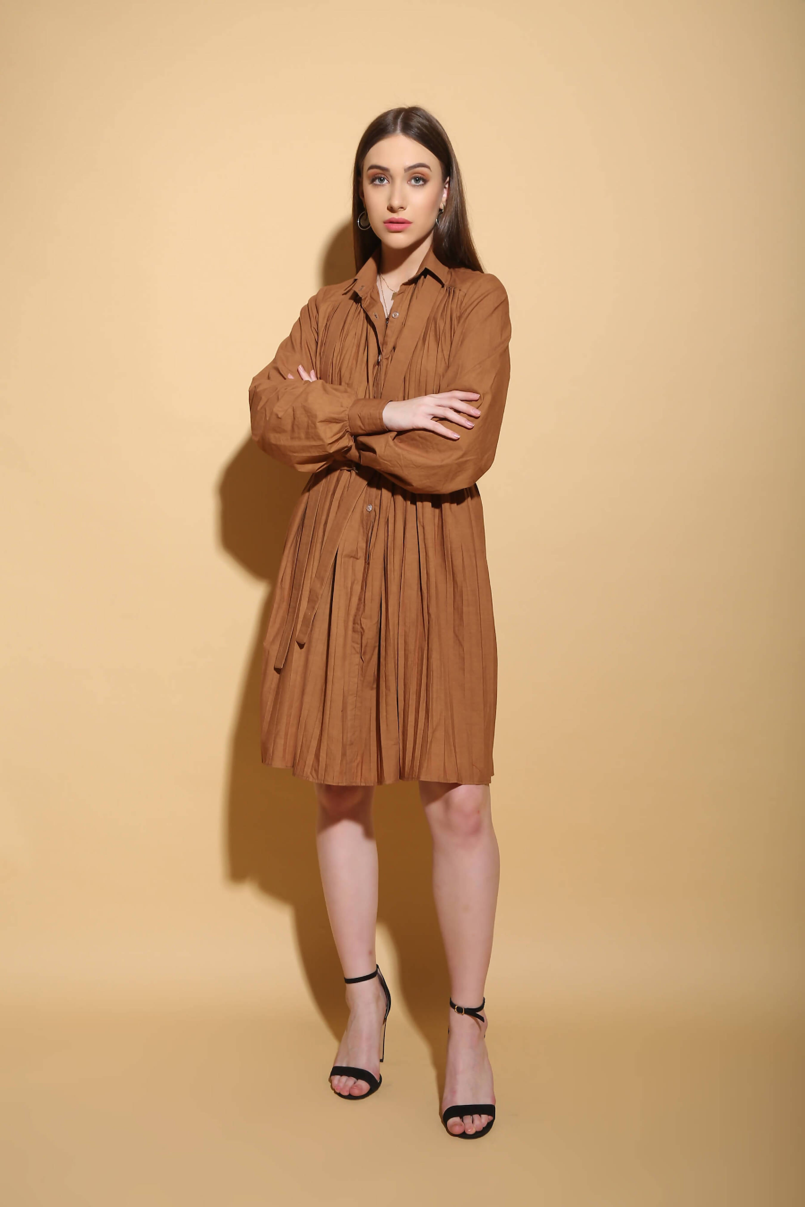 Brown Pleated Shirt Dress