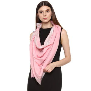 Rhe-Ana Pearl Stole/Scarf Wool/Modal Lurex Light Pink/Silver Colour