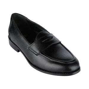 LUCCA BLACK PEBBLE GRAINED CLASSIC PENNY LOAFERS