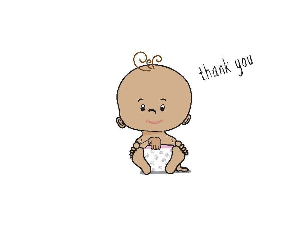 ASL Thank You Baby Shower card - brown skin – Say It In Sign