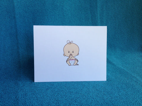 ASL Thank You Baby Shower card - light skin