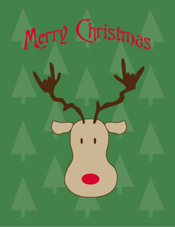 ASL ILY Reindeer Merry Christmas Cards ( 6 or 12 cards)