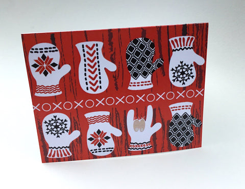 Scandinavian ASL ILY Mittens greeting card