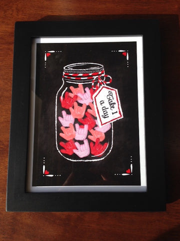 I Love You candy jar print 6 x 8