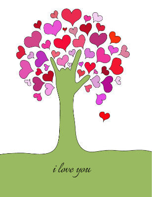 I Love You - tree - greeting card