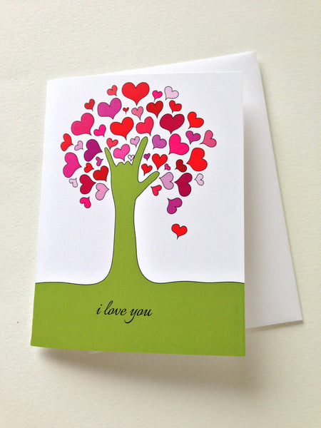 i love you  tree  greeting card  say it in sign