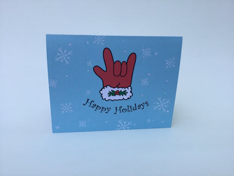 Happy Holidays Santa Glove greeting card