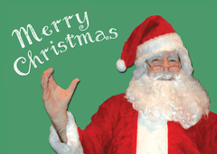 Santa signs Merry Christmas - lenticular card