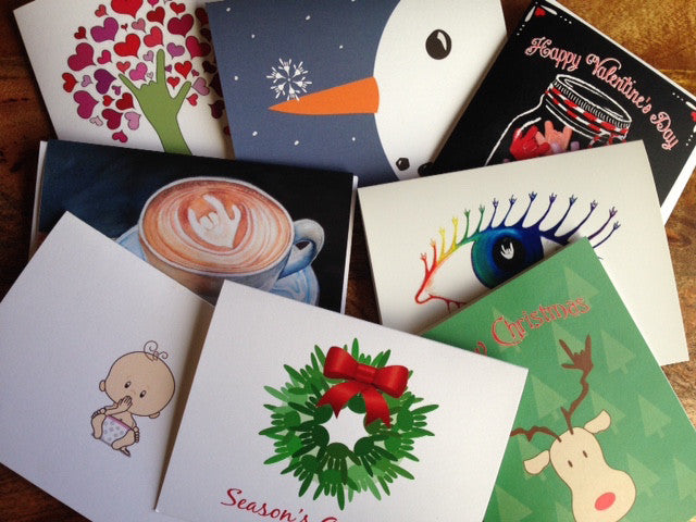 ASL Greeting cards - Mix set , ASL holiday cards, ASL thank you, I love you