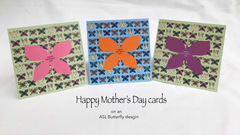Happy Mother's Day card on ASL Butterfly background