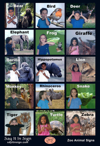 ASL Zoo Animal Signs Poster - ASL Lenticular Poster